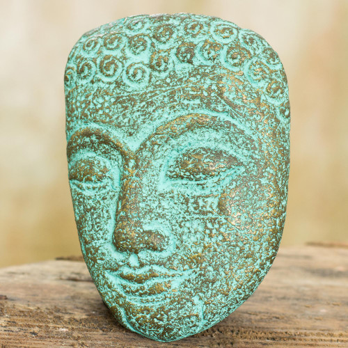 Buddha Portrait Handmade Recycled Paper Wall Sculpture 'Inspiring Young Buddha'