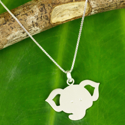 Thai Elephant Pendant Necklace in Brushed Sterling SIlver 'Elephant Baby'