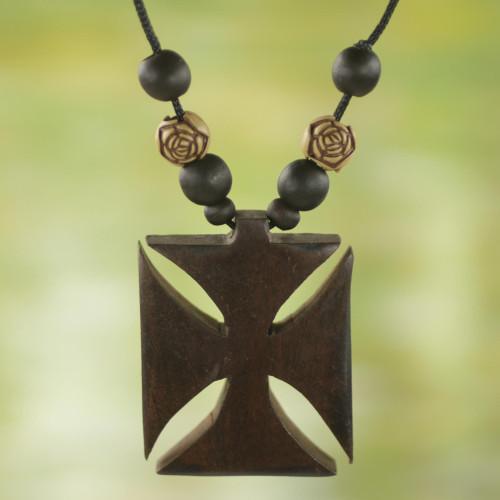 Ebony Bamboo and Sese Wood Floral Adinkra Pendant Necklace 'Adinkra Cross'