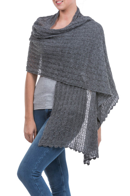 Charcoal Grey Sheer Knitted Alpaca Blend Shawl 'Muse in Grey'
