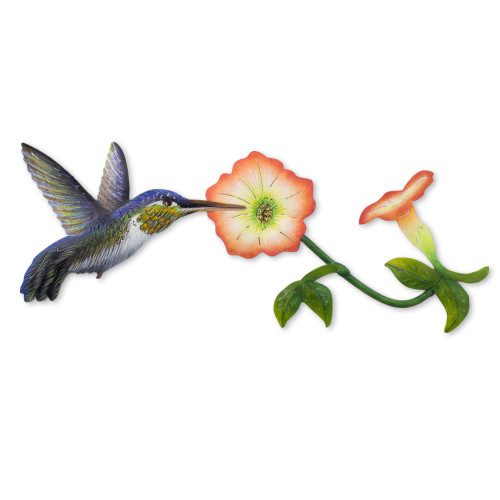 Hummingbird and Flowers Steel Wall Art Crafted by Hand 'Exotic Nectar in Orange'