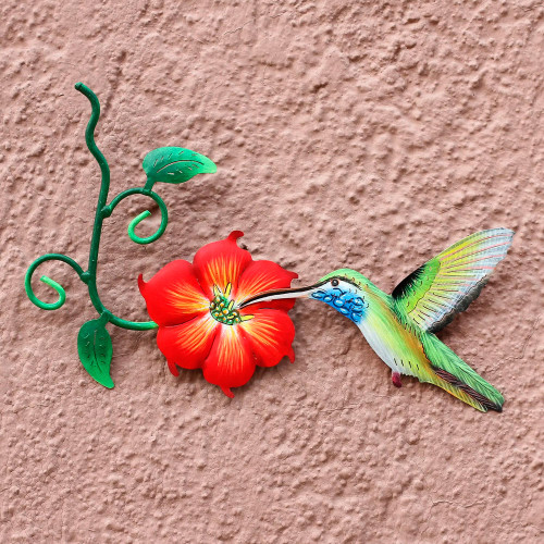 Hummingbird and Red Flower Steel Wall Art Crafted by Hand 'Colibr'