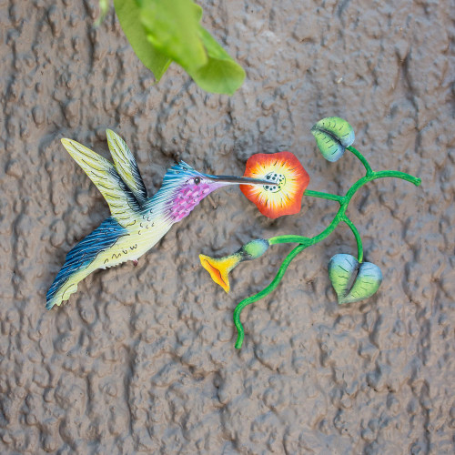 Mexican Hummingbird Steel Wall Art Crafted by Hand 'Exotic Nectar in Yellow'