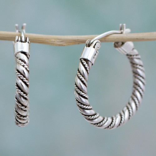 Hoop Earrings Handcrafted of Sterling Silver in Taxco 'Twist and Shine'