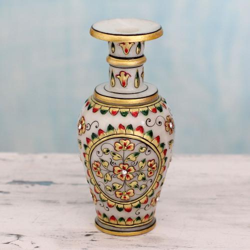 Makrana Marble Artisan Crafted Decorative Vase with 22k Gold 'Rajasthani Garden'