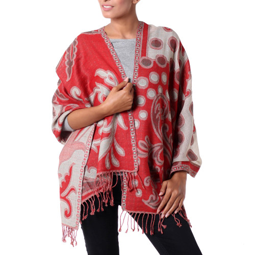 Red and Beige Modern Wool Shawl from India 'Modern Red Jamawar'