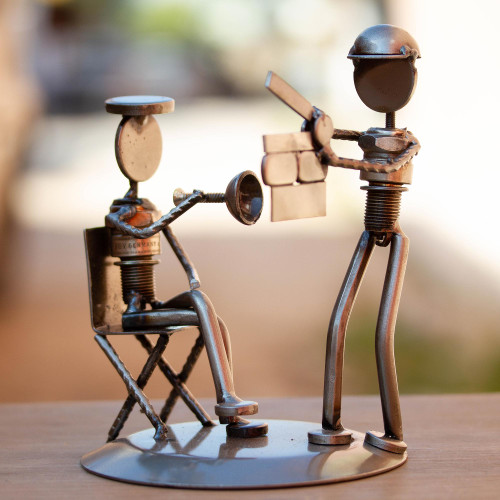 Recycled Metal and Auto Part Filmmaker Sculpture from Mexico 'Rustic Film Director'