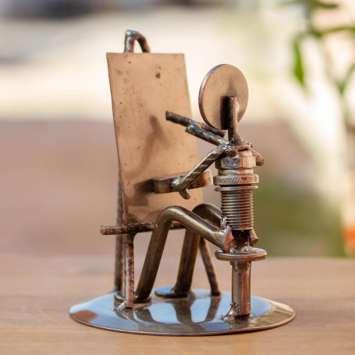 Handcrafted Recycled Metal and Auto Part Painter Sculpture 'Rustic Artist at Work'