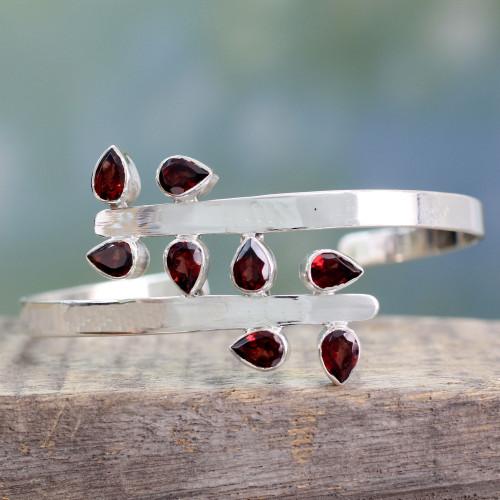 Sterling Silver Cuff Garnet Bracelet Modern Jewelry 'Red Forest Fern'