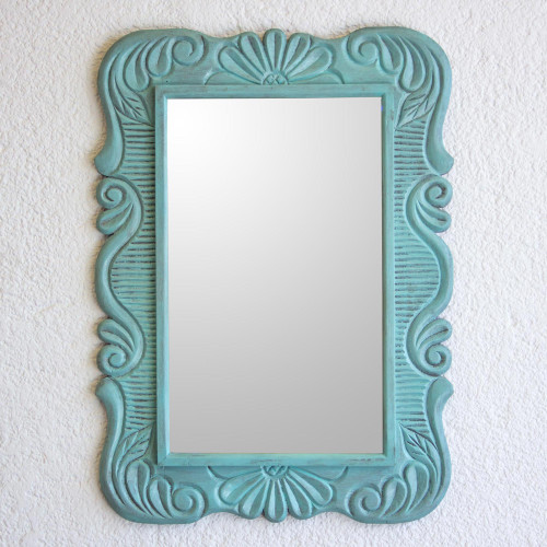 Handcrafted Pinewood Floral Mirror in Aqua from Guatemala 'Sunflower View in Aqua'