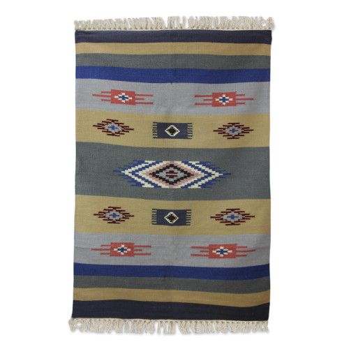 Hand Woven Wool Dhurrie Rug in Blue Grey and Brown 4x6 'Symphony of Dawn'