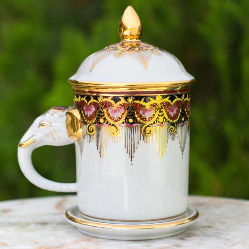 Benjarong White Elephant Coffee Mug and Lid with Gold Paint 'Thai Iyara'