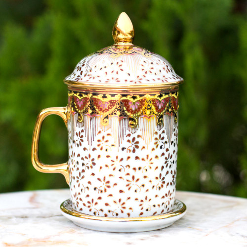Pink and Gold Flower Benjarong White Coffee Mug and Lid 'Thai Celebration'