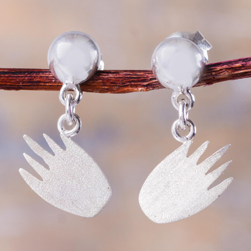 Handcrafted Andean Sterling Silver Hand Shape Earrings 'Gentle Hand'