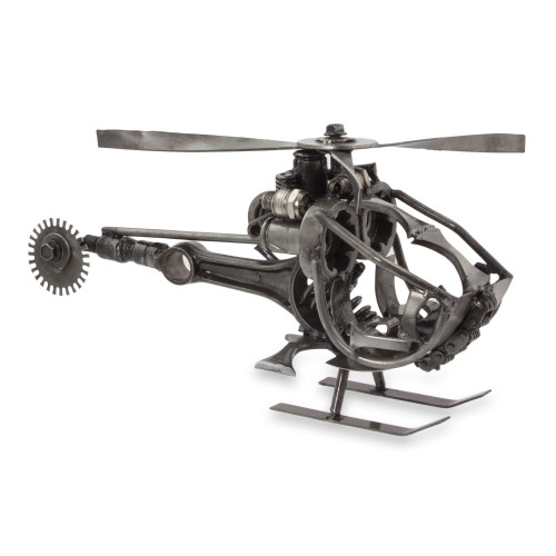 Handcrafted Helicopter Sculpture of Recycled Auto Parts 'Helicopter'