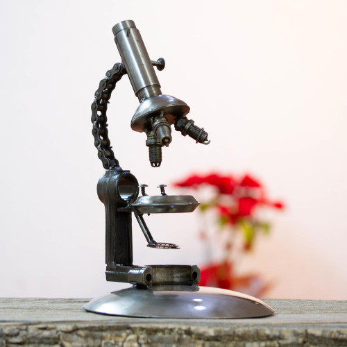 Metal Microscope Sculpture Crafted from Recycled Auto Parts 'Rustic Microscope'