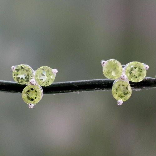 Artisan Crafted Triple Peridot Stud Earrings from India 'Charming Trio'