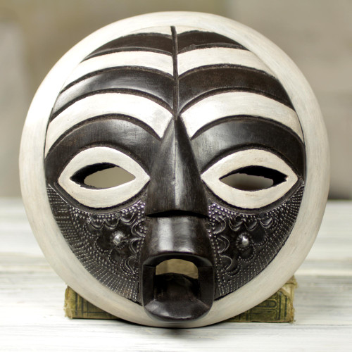 Circular West African Mask Handcrafted and Painted 'Rescued'