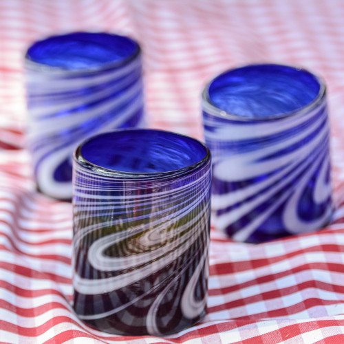 6 Hand Blown Blue-White 11 oz Rock Glasses from Mexico 'Whirling Cobalt'
