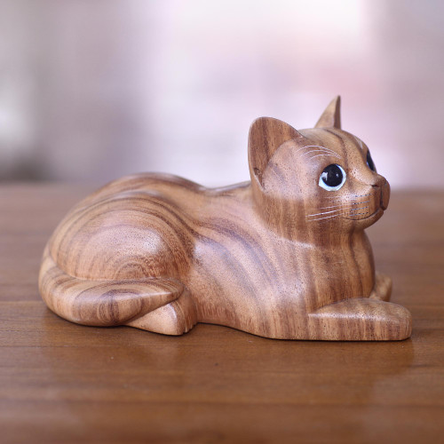 Hand Carved Wood Cat Sculpture from Balinese Artisan 'Short Haired Cat'