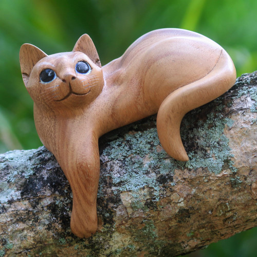 Hand Carved Kitty Cat Sculpture in Medium Wood Finish 'Watchful Ginger Cat'