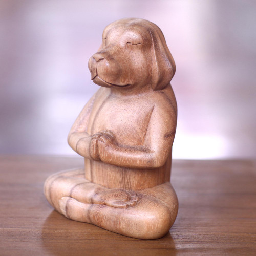 Brown Wood Puppy Sculpture in Whimsical Yoga Pose 'Meditating Puppy'