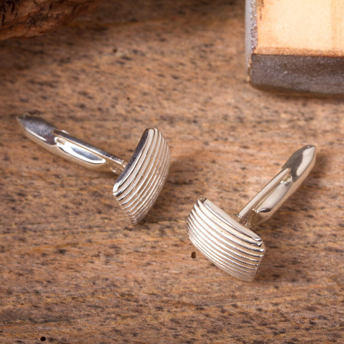 Artisan Crafted Cufflinks of Mexican Taxco Silver 'Minimalist Grille'