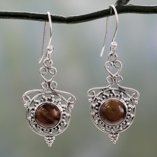 Tiger's Eye and Sterling Silver Dangle Earrings from India 'Earthly Delight'