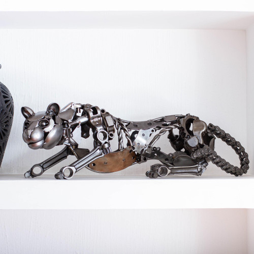 Eco Friendly Mexican Recycled Auto Part Panther Sculpture 'Fierce Panther'