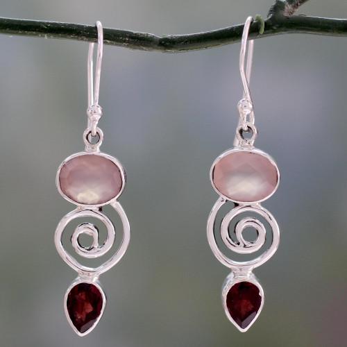 Silver Dangle Earrings with Rose Quartz and Garnet Stones 'Romantic Journey'