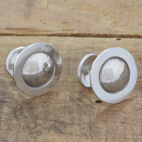 Handcrafted Contemporary Sterling Silver Cufflinks 'Saturn'