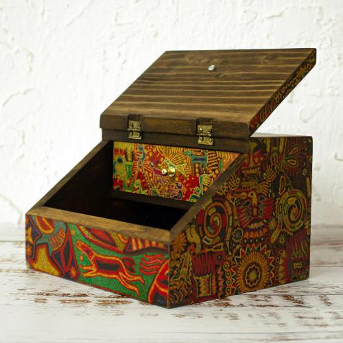 Huichol Cosmogony on 6-Inch Decoupage Wood Jewelry Box 'Huichol Essence'