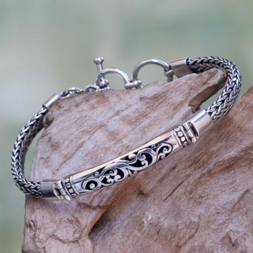 Stylized Fern Design Sterling Silver 925 Pendant Bracelet 'Fern Grotto'