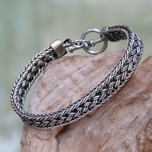 Toggle Clasp Balinese Sterling Silver Men's Bracelet 'Pakerisan'