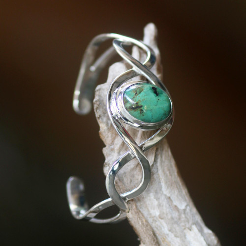 Sterling Silver and Reconstituted Turquoise Cuff Bracelet 'DNA'