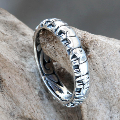 Elephant Themed Band Ring Crafted from Sterling Silver 'Elephant Trek'