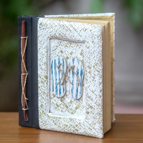 50-page Journal with Natural Fiber Cover and Rice Paper 'The Path Is Blue'
