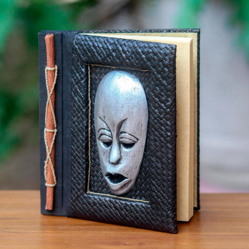 Silver Wood Mask on Hand Crafted Natural Fiber Journal 'Silver Guardian'