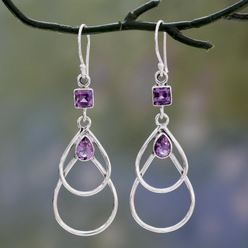 Contemporary Sterling Silver Earrings with Amethysts 'Purple Ice'