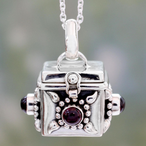 Artisan Crafted Prayer Box Necklace in Silver with Garnet 'Royal Prayer'