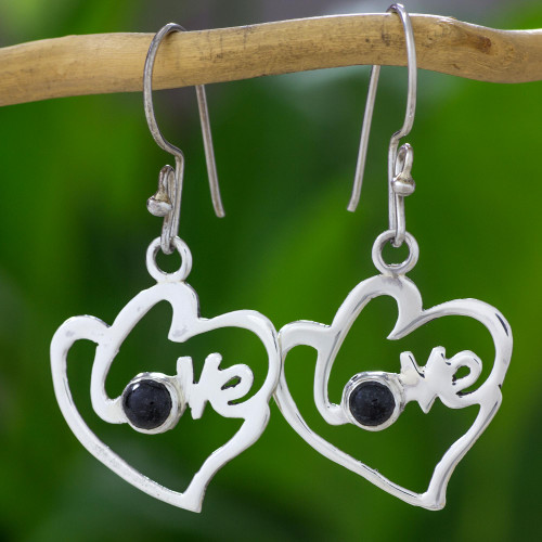 Romantic Heart Shaped Jade and Silver Love Theme Earrings 'Hearts Full of Love'