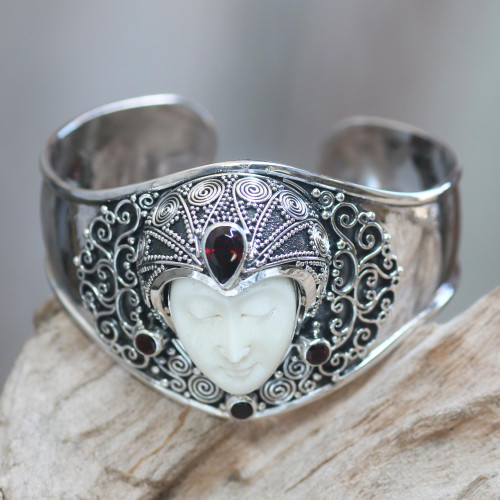 Artisan Crafted Carved Bone and Silver Cuff with Garnets 'Jungle Princess'