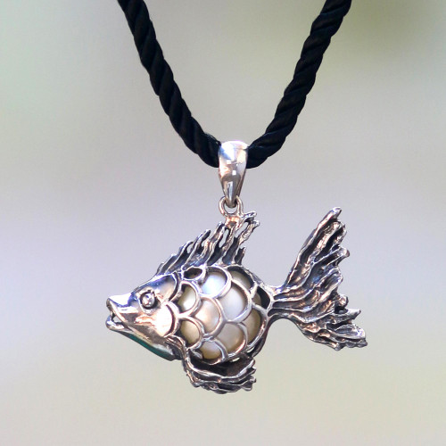 Sterling Silver Goldfish Necklace with a Cultured Mabe Pearl 'Iridescent Goldfish'