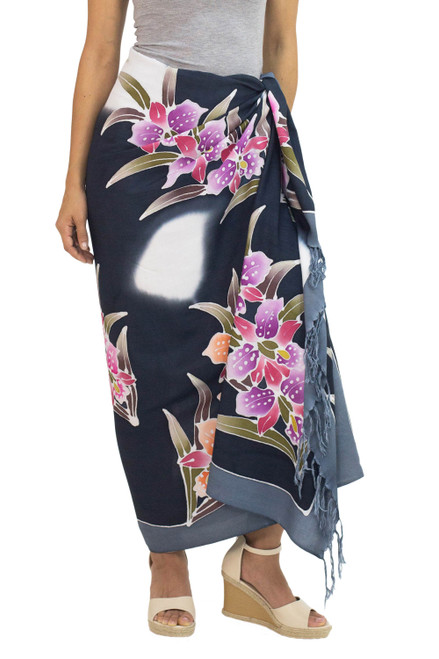 Artisan Crafted Black Rayon Sarong with Floral Motif 'Luminous Orchids'
