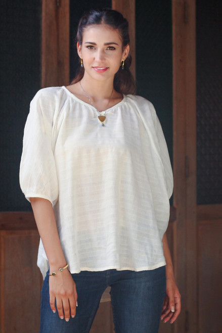 Cotton Blouse in Cream Color with Butterfly Sleeves 'Wondrous in Cream'