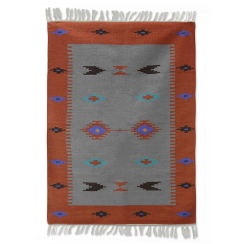 Handwoven Indian Coral Rectangle Wool Geometric Rug 4x6 'Coral Secret'