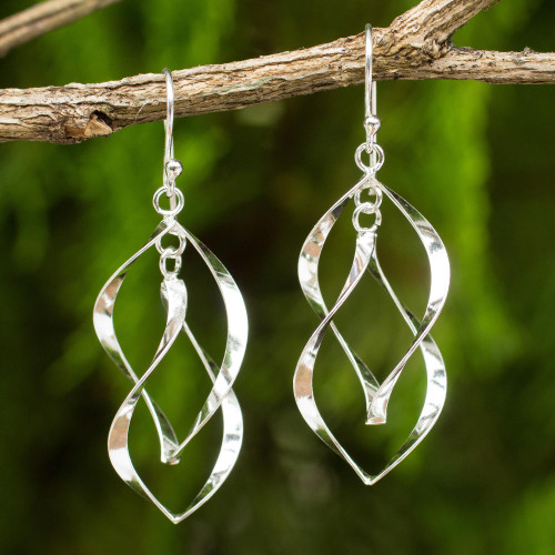Thai Artisan Crafted Sterling Silver Dangle Earrings 'Linking Leaves'