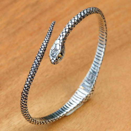 Realistic Sterling Silver Snake Bracelet with 18k Gold Eyes 'Earth Serpent'