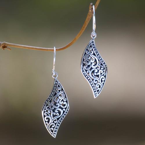 Ornate Leaf Theme Balinese Sterling Silver Artisan Earrings 'Voluptuous Leaf'