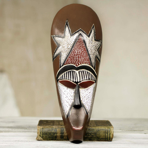 Hand Carved African Mask with Repousse Accents 'My Stars'